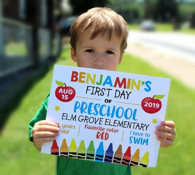 Back to School Signs - Editable First day of School Sign