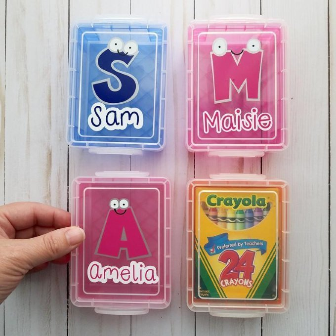 Personalized Student Name Crayon Box Holder