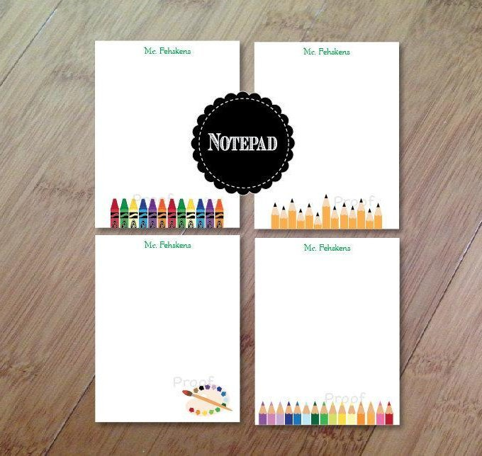 Personalized Teacher Note Pads