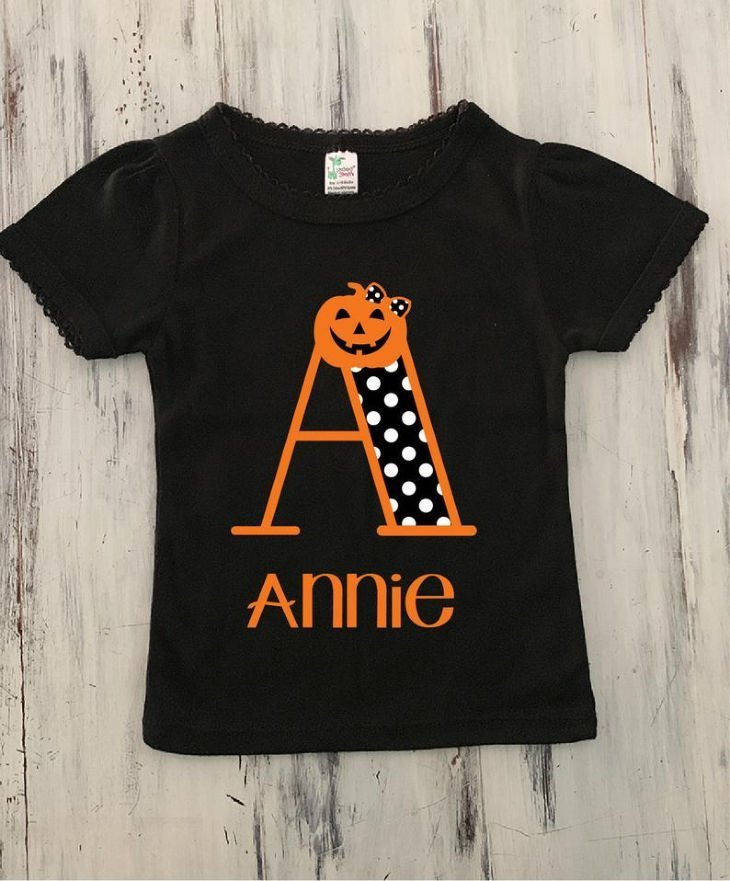 Girls Personalized Halloween Monogram Shirt