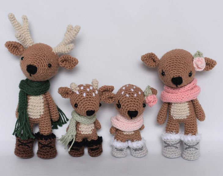 Deer Family Crochet Amigurumi Pattern