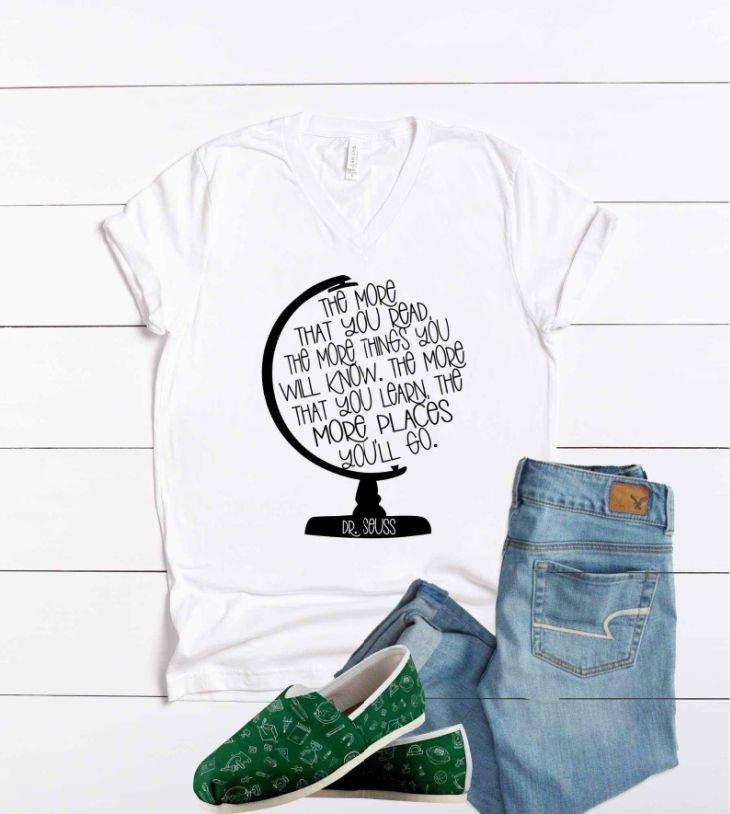 Dr Seuss Quote Teacher V-Neck Shirt