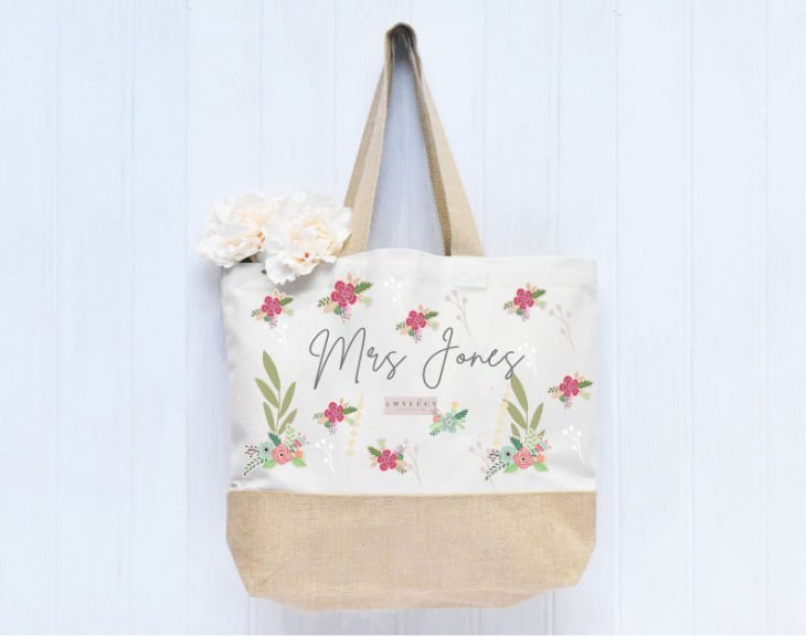 Personalized Floral Teacher Tote Bag