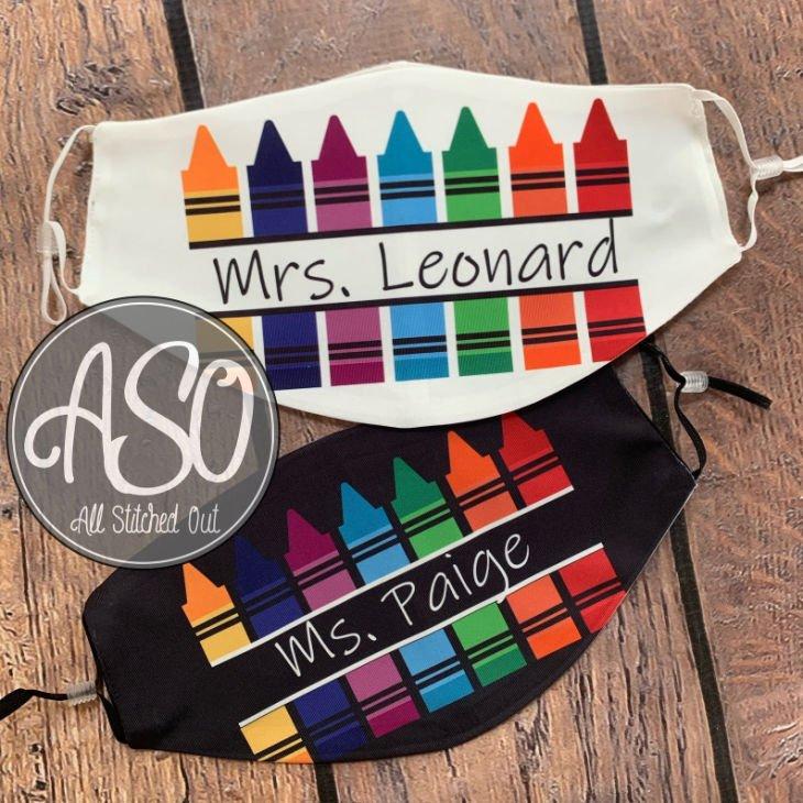 Personalized Crayon Teacher Mask