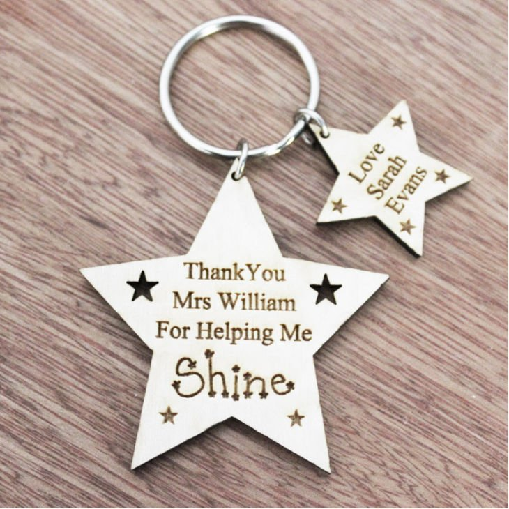 Teachers Gift Star Shaped Personalized Keyring