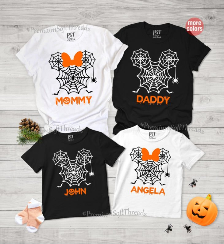 Halloween Spiderweb Shirts for the Family