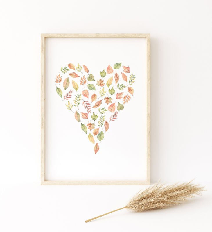 Fall Leaves Heart Illustration