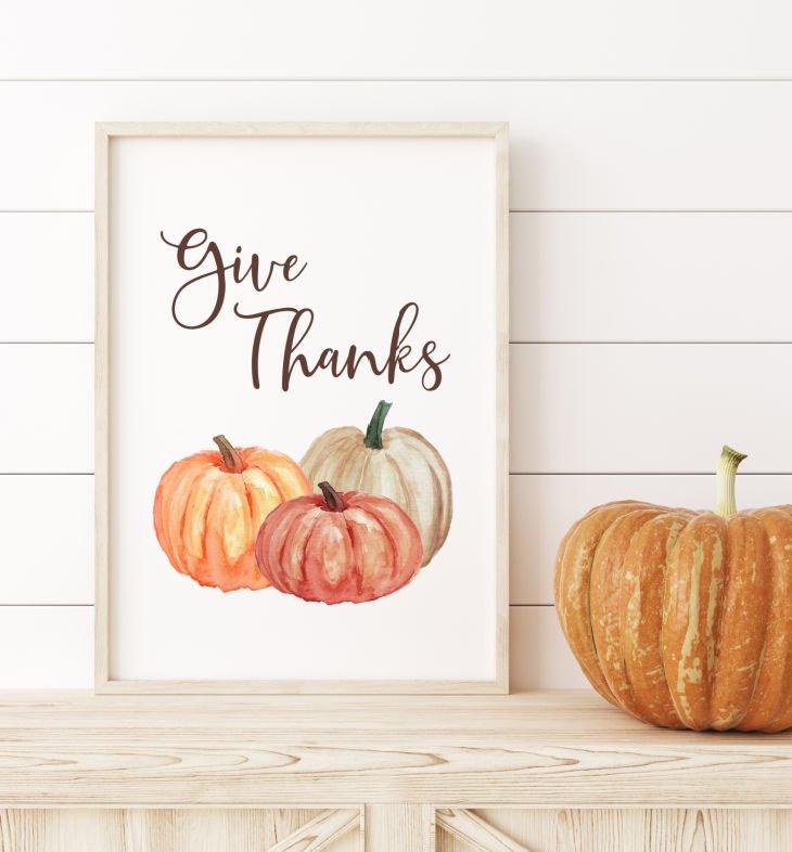 Give Thanks Wall Decor Printable