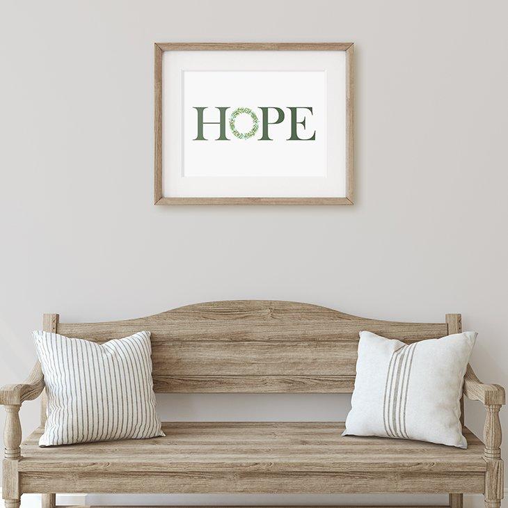 Hope Printable Wall Art with Watercolor Christmas Wreath