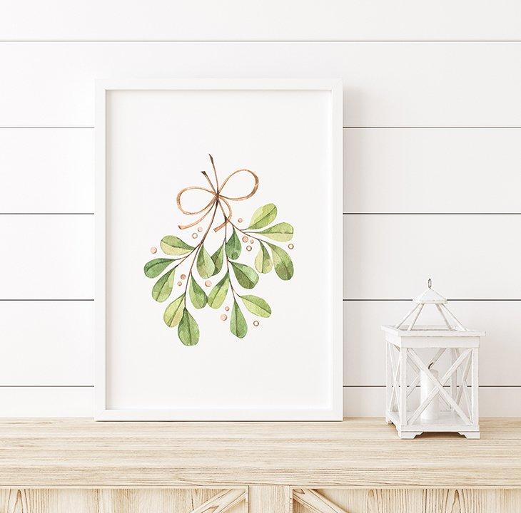 Watercolor Mistletoe Wall Art