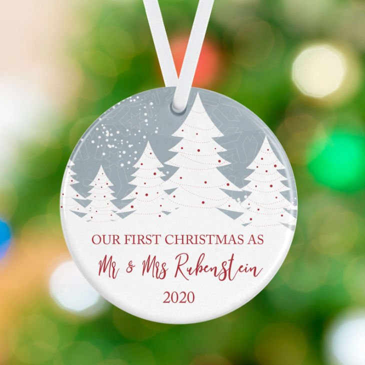 Personalized Ornament - First Christmas as Mr and Mrs