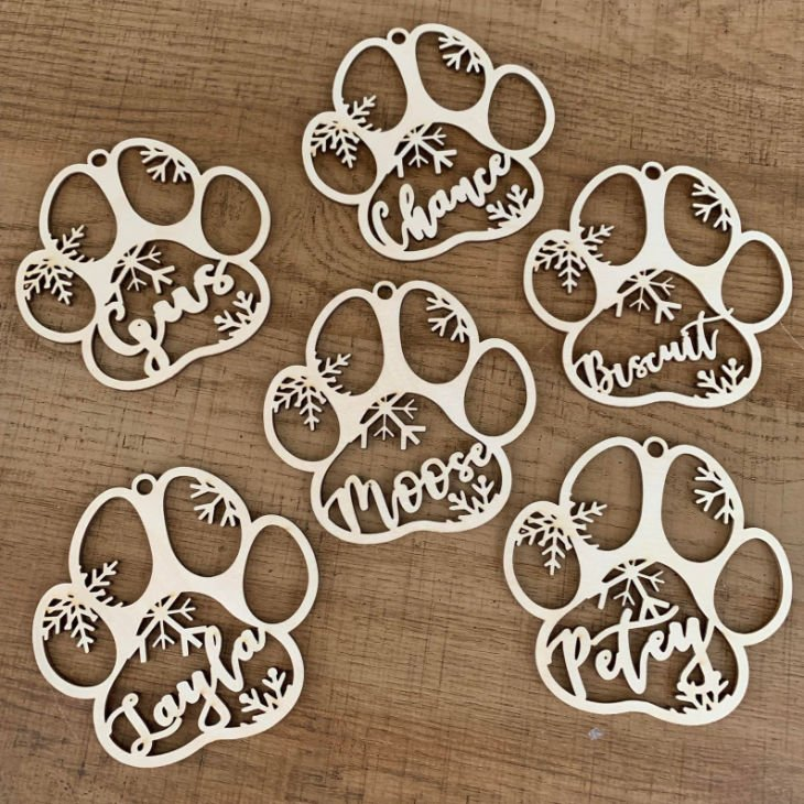 Personalized Your Dog's Name Custom Dog Paw Christmas Ornament