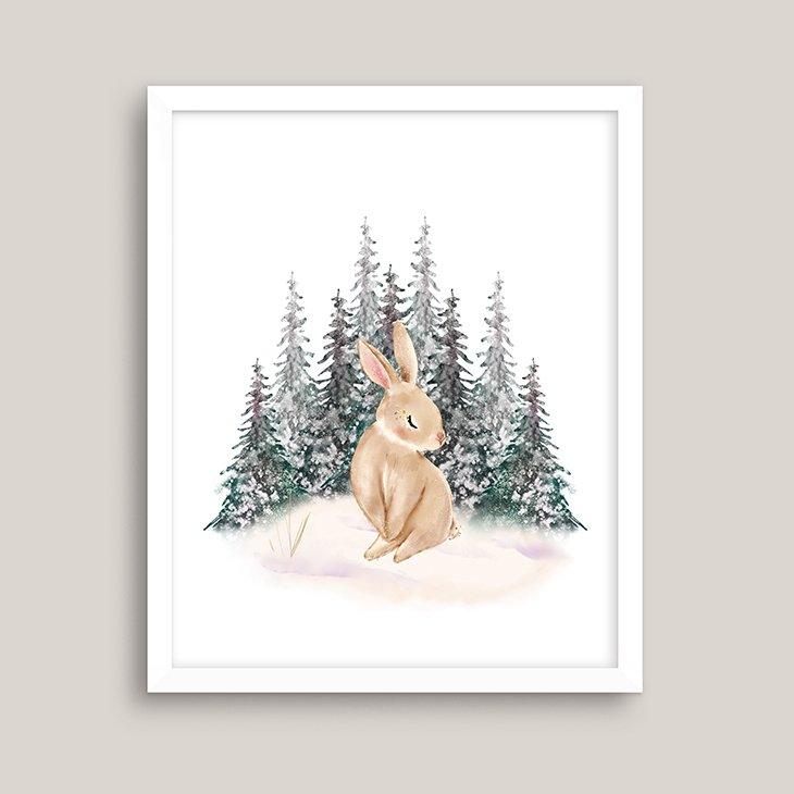 Winter Bunny Watercolor Wall Art