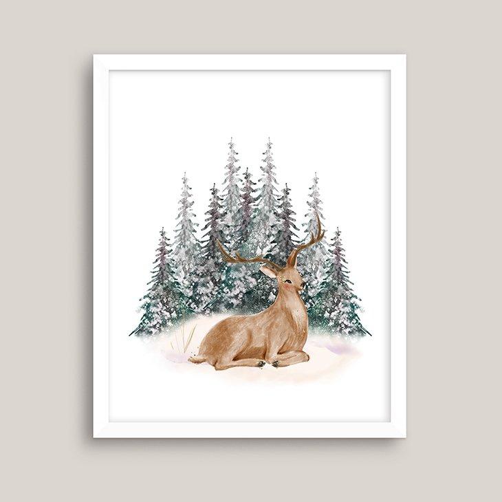 Winter Deer Watercolor Wall Art