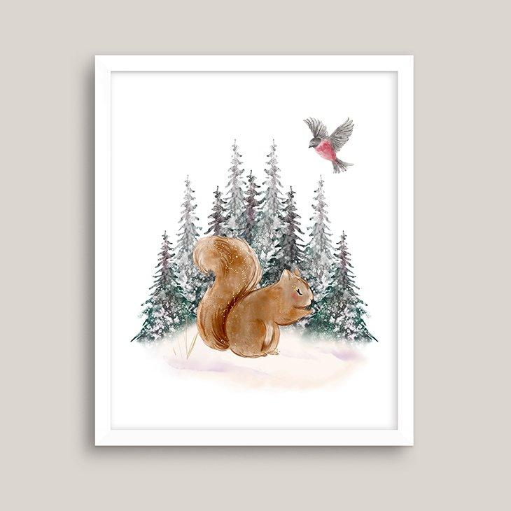Winter Squirrel Watercolor Wall Art