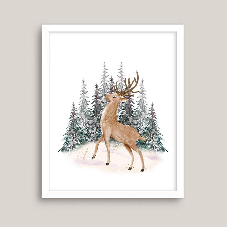 Winter Standing Deer Watercolor Wall Art