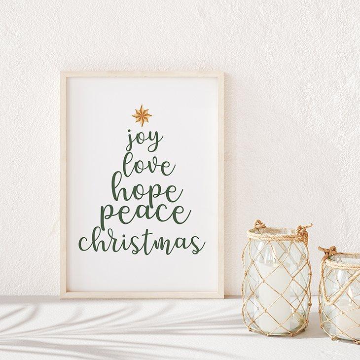 Joy Love Hope Peace Christmas Tree Printable Illustration
